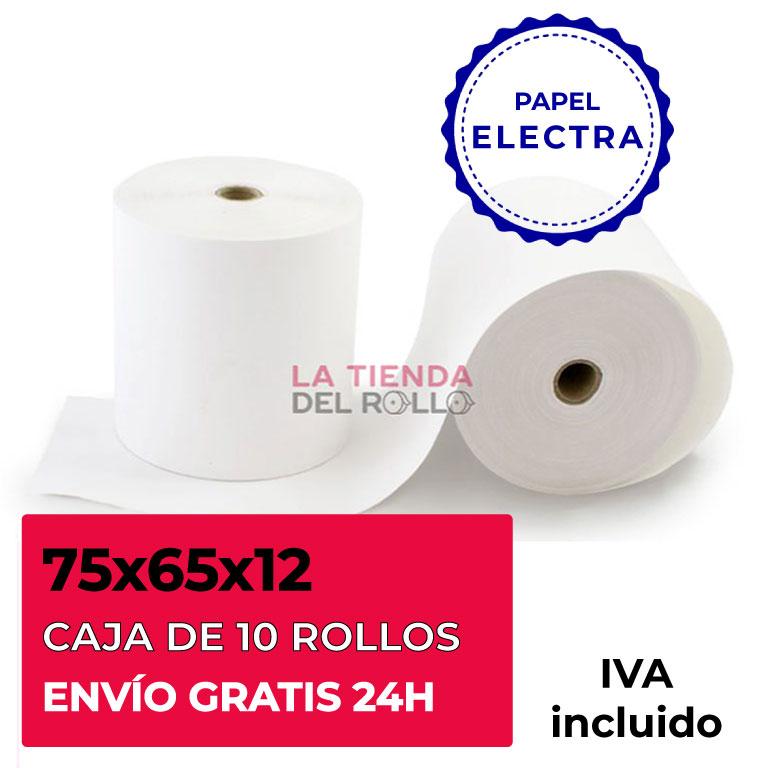 Paquete de 10 rollos de papel electra de 75mm de ancho, 65mm de diámetro y canuto de 12mm de ancho