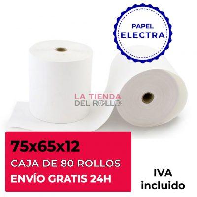 Paquete de 80 rollos de papel electra de 75mm de ancho, 65mm de diámetro y canuto de 12mm de ancho