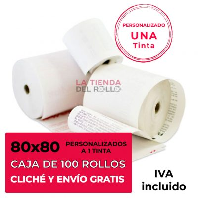 Paquete de 100 rollos de papel térmico personalizado de 80mm de ancho, 80mm de diámetro y canuto de 12mm de ancho