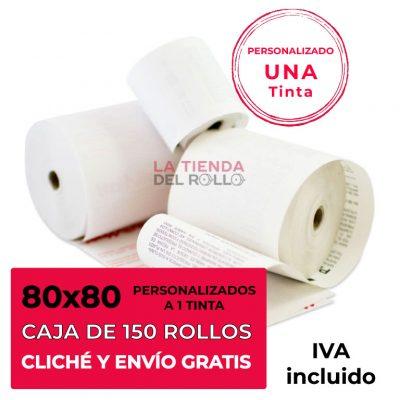 Paquete de 150 rollos de papel térmico personalizado de 80mm de ancho, 80mm de diámetro y canuto de 12mm de ancho