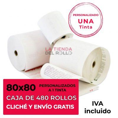 Paquete de 480 rollos de papel térmico personalizado de 80mm de ancho, 80mm de diámetro y canuto de 12mm de ancho